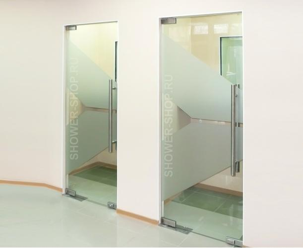 Маятниковая стеклянная дверь с доводчиком